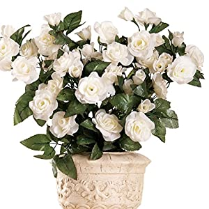 Collections Etc Artificial Floral Rose Bushes - Set of 3, Maintenance Free 46