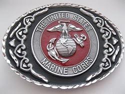 Cowboy Western Belt Buckle #444 - United States Marine Corps - Pewter