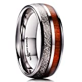King Will METEOR 8mm Mens Tungsten Carbide Wedding Ring Imitated Meteorite Koa Wood Inlay Comfort Fit 10.5