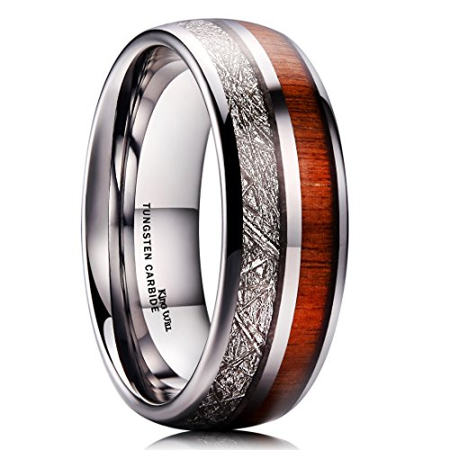 - King Will Meteor 8mm Mens Tungsten Carbide Wedding Ring Imitated Meteorite Koa Wood Inlay Comfort Fit 10.5