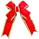 Vickerman 36'' Red and Gold Nylon Decorative Christmas Bow, Indoor and Outdoor Use