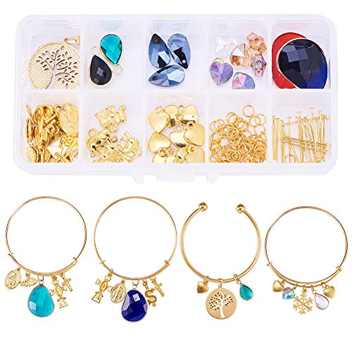 SUNNYCLUE 4 Sets Ball Closure Adjustable Wire Blank Bracelet Expandable Bangle with Charm Beads Pendants for DIY Jewelry Making and Crafting Set, Golden