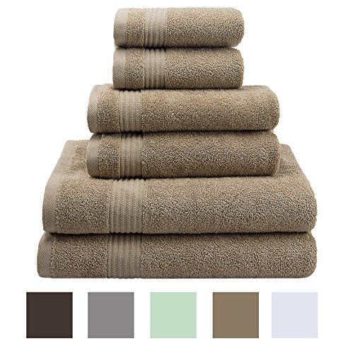 Premium, Luxury Hotel & Spa, Turkish Towels 100% Cotton 6 Piece Towel Set for Maximum Softness and Absorbency by American Veteran Towel, Sand Taupe - Taupe Hotel Spa Collection