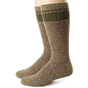 Dickies Men's 2 Pack Cotton Thermal with Stripe Accents Boot Crew Socks, Brown, Sock Size:10-13/Shoe Size: 6-12