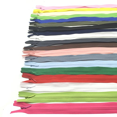Mmei Pack of 60 Nylon Invisible Zippers for Tailor Sewer Sewing Craft Crafter's Special 14 Inch 20 Colors (3 pcs per color)
