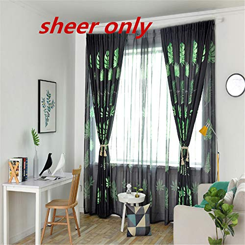 WPKIRA Sheer Rod Pocket Curtain Drapes Living Room & Bedroom 63 Inch Length Beautiful Fashion Voile Tropical Plants Print Design Curtain Natural Light Flow Plant Fabric 1 Panel W39 x L63 inch