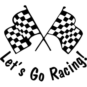 Lets Go Racing Checkered Flag Nascar Car Truck Window Decal Sticker