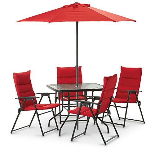 CastleCreek Red Outdoor Patio Furniture Dining Set- 6-Pc. Includes Folding Chairs Table and Umbrella (Patio Tables And Chairs)
