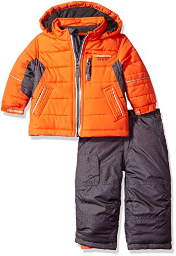 London Fog Baby Boys 2-Piece Snow Pant and Jacket Snowsuit, Orange, 12M