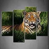 4 Panel Wall Art Bengal Tiger Panthera Tigris Bengalensis Laying In Thick Grass Openmouthed Painting The Picture Print On Canvas Animal Pictures For Home Decor Decoration Gift piece