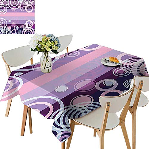 UHOO2018 Polyester Square/Rectangle Bold Borders in Middle 70s Vintage Magenta Hot Pink and White Kitchen Washable,52 x 70inch ()