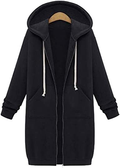 Byoauo Women Zip Up Hoodie Jacket Casual Long Sleeve Drawstring Sweatshirt Coat with Pockets