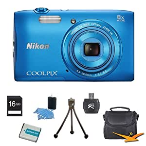 "COOLPIX S3600 20.1MP 2.7"" LCD Digital Camera with 720p HD Video Blue Kit Includes camera, memory card, Deluxe Gadget Bag, battery, USB Card reader, 3pc. cleaning kit and mini tripod"