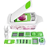 Vegetable Chopper Slicer - Slicer Dicer Onion Chopper - 11 Interchangeable Stainless Steel Blades, Heavy Duty Multi Fruit Cheese & Onion Chopper Dicer Kitchen Cutter