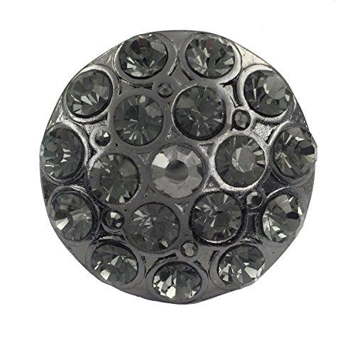 Large Round Rhinestone Statement Big Stretch Cocktail Ring (Hematite Grey Tone)