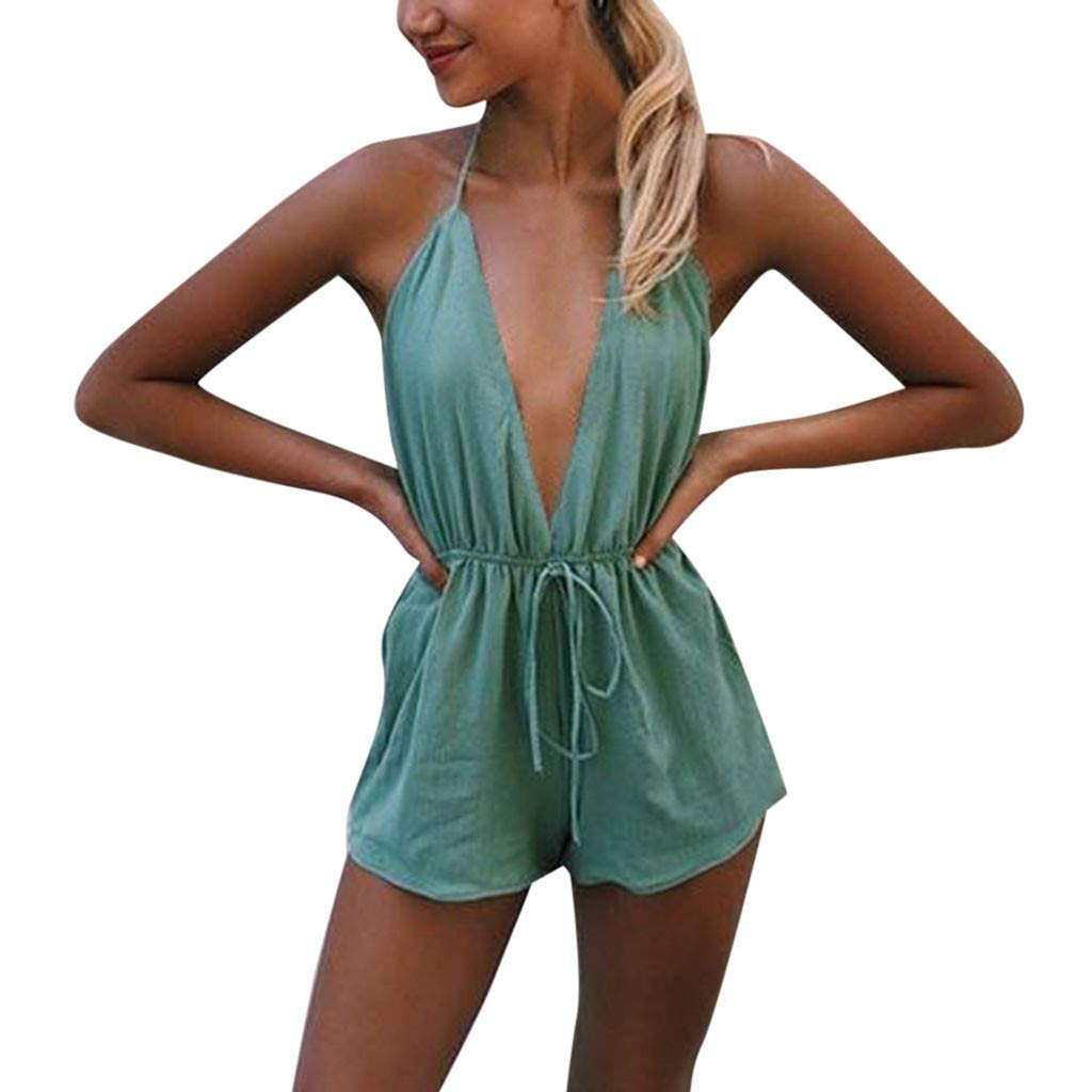 Sunyastor Jumpsuits for Women Summer Sleeveless Deep V-Neck Chest Bowknot Jumpsuit Short Pant Rompers Playsuit Outsuit Green