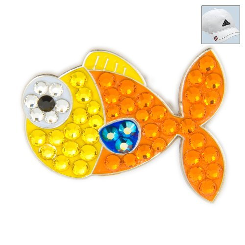 Bonjoc Swarovski Crystal Golf Ball Marker & Hat Clip - Goldfish