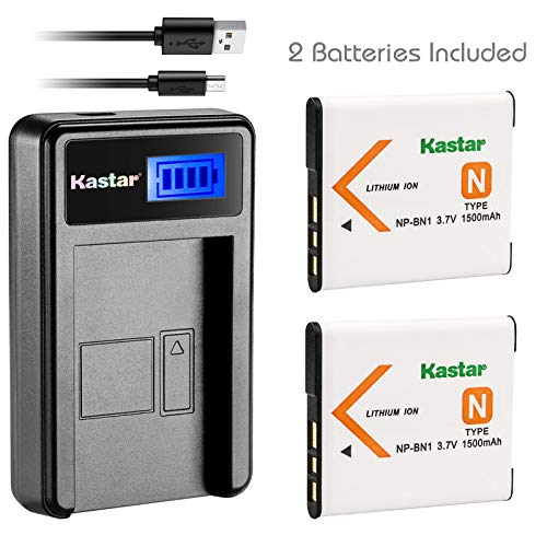 Kastar Battery (X2) & LCD Slim USB Charger for Sony NP-BN1 NPBN1 BC-CSN and Cyber-Shot DSC-QX10 QX30 QX100 DSC-TF1 DSC-TX10 TX20 TX30 DSC-W530 DSC-W570 DSC-W650 DSC-W800 DSC-W830 Digital Camera - Camera Digital 1 Battery Charger