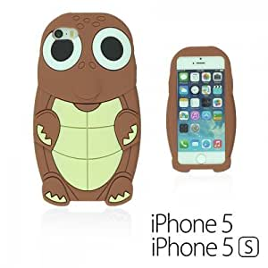 OnlineBestDigital - Turtle Style 3D Silicone Case for Apple iPhone 5S / Apple iPhone 5 - Brown