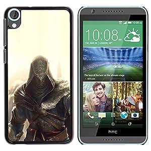 KLONGSHOP // Cubierta de piel con cierre a presión Shell trasero duro de goma Protección Caso - Assassin Glow - HTC Desire 820 //