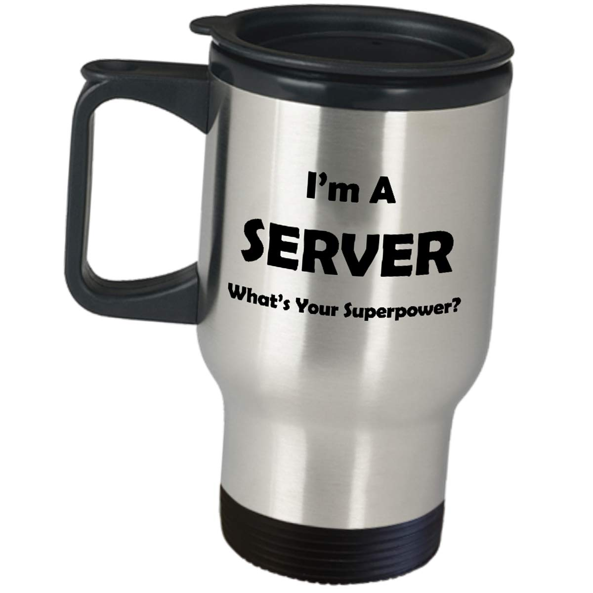 Server Waitress Waiter Gift - Whats Your Superpower - Stainless Steel Travel Mug Insulated Coffee Tumble Job Pride Gifts Restaurant Food Order Taker Appreciation Funny Cute Gag For Men Women