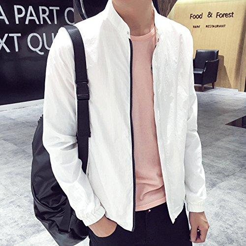 Corto, macho de capa fina versión coreana de el color sólido wild jóvenes estudiantes en un corto, capa fina, blanca ,XL