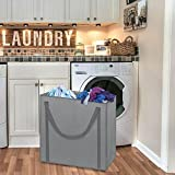 Dual Compartment Laundry Bag Section Laundry Hamper Odor Neutralizing with Handles Environmentally Friendly Fabric to Help Neutralize Odors Machine-Washable Tote Built-In Sorting Solution Fabric Grey