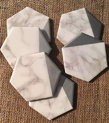 Hexagon Marble Gold Drink Coasters Coffee Table Decor Birthday Holiday Gifts for Women Set of 4