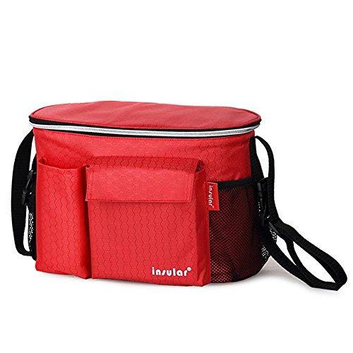 3-in-1organizador para carrito de/para sillita de bebé bolsa de pañales bolso cambiador momia bolso cambiador/bolsa de aislamiento calentador, Universal fit-6bolsillos azul azul rosso