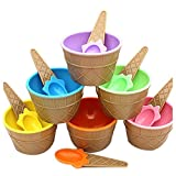ice cream bowls for kids - Inkach Ice Cream Bowls with Spoons 6pcs Kids Plastic Ice Cream Dishes Cups Set Gift (Multicolor)