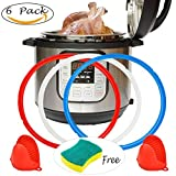 Instant Pot Accessories Silicone Sealing Ring 8 Quart + Free Silicone Oven Mitts with Diswashing Sponge Fit IP-DUO80 IP-LUX80,Sweet and Savory,Common Clear Edition Ring