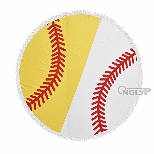 (X.Sem 62'' Baseball&Softball Design Massiness Tapestry Beach Towel Round Mandala with Tassel Fringing Beach Throw Roundie Sports Yoga Mat Table Cloth Large Blanket)