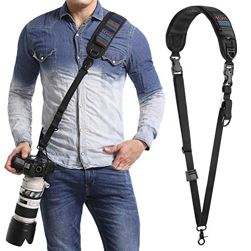 waka Camera Neck Strap with Quick Release and Safety Tether, Adjustable Camera Shoulder Sling Strap for Nikon Canon Sony Olympus DSLR Camera – Black (Retro)