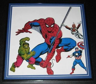Marvel Universe Original Framed 1988 Poster 12X12 Spiderman Hulk Capta