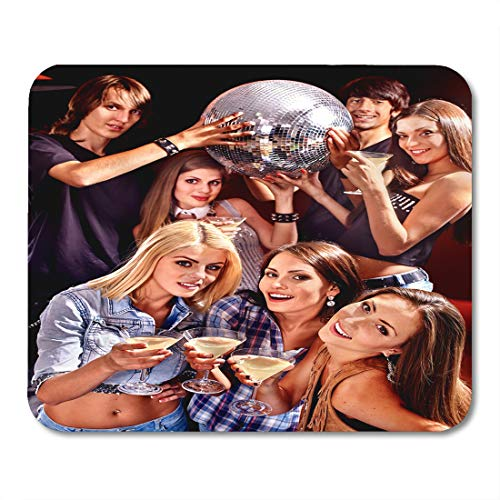 Emvency Mouse Pads Bass Alcohol Group People on Disco in Night Club Girls Holding Ball Band Blur Mouse Pad 9.5