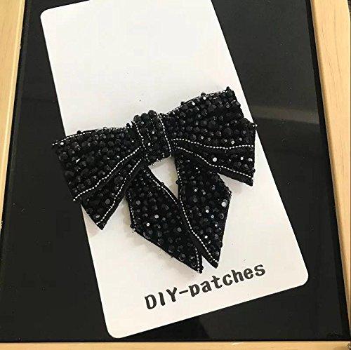 Wholesale 2pcs/lot Rhinestones Bow Applique Patch Vintage Shoes Decoration Ornaments Accessories 2piece (Black Bow)