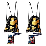 Disney Mickey Mouse Drawstring Gold Backpacks and Blue Lanyards 4 Pack