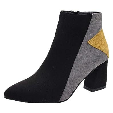 9808b973f5f652 Kaiki Hiver Boots,Vintage Angleterre Femmes Bottes Couleurs mélangées  Bottines Plus Bottes de Velours à