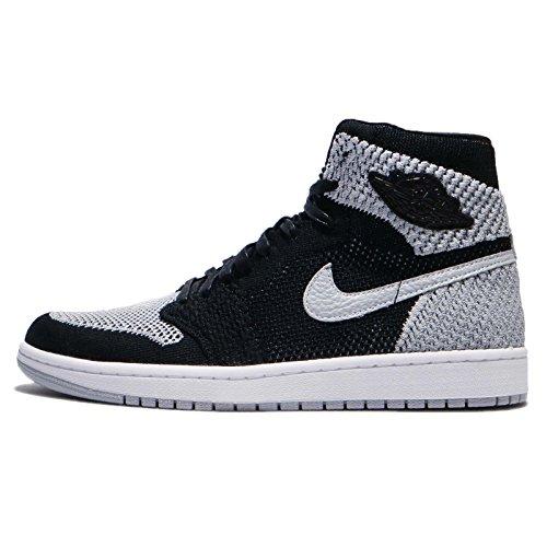 - Nike Air Jordan 1 Retro Hi Flyknit Mens Basketball Trainers 919704 Sneakers Shoes (UK 6 US 7 EU 40, Black White Wolf Grey 003)
