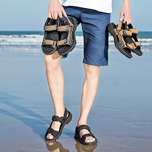 Sandalias Verano la Zapatos Beach Hombres de cómodos a Toe Slingback Marrón Sandalias Open Peep Resistentes abrasión BxBnrAq0Wz