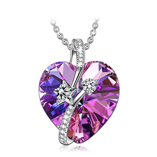 - SIVERY Birthday Gifts 'Love of Rose' Women Rose Necklace with Swarovski Crystals, Jewelry for Women, for Mom (Love in Paradise Purple)