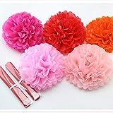 HATABO Flower Decoration Wedding Favors Lovebirds 1pcs 10inch (25cm) Tissue Paper Pom Poms Flower Kissing Balls Home Decoration Festive & Party Supplies Wedding Favors (Random)