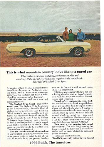 1966 Vintage Print Ad for Buick Skylark Gran Sport | Mountain Country ()