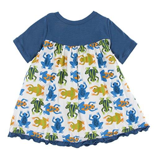Kickee Pants Little Girls Print Classic Short Sleeve Swing Dress, Amazon Frogs, 2T