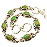 Genuine GREEN COPPER TURQUOISE Gemstone Bracelet ! 925 Sterling Silver Plated Online Jewelry Store