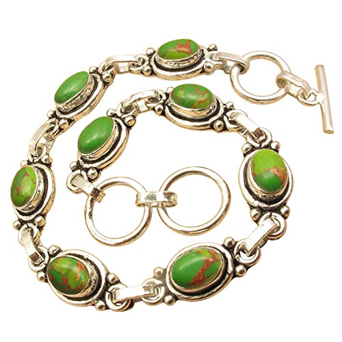 Genuine GREEN COPPER TURQUOISE Gemstone Bracelet ! 925 Sterling Silver Plated Online Jewelry (Copper Turquoise Gemstone)