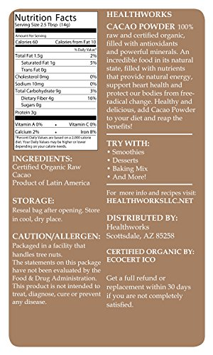 Amazon.com : Healthworks Raw Certified Organic Cacao Powder, 1 lb ...