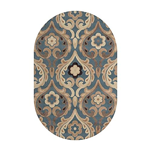 Amazing Home Dynamix HD4902 309 Catalina Oval Area Rug, 31 By 50 Inch, Blue