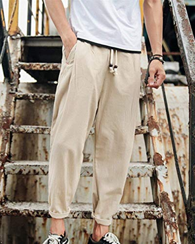 Lin Harem Avec Printemps Garçons Hommes Corde Air En Pantalon Kaki Automne Hippie Plein Décontracté Classique Lâche H1dqEwq