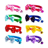 WSERE Set of 8 Cat Collar with Bell, Cat Collar with Bow for Cats